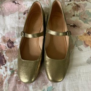 Madewell Gold Mary Janes